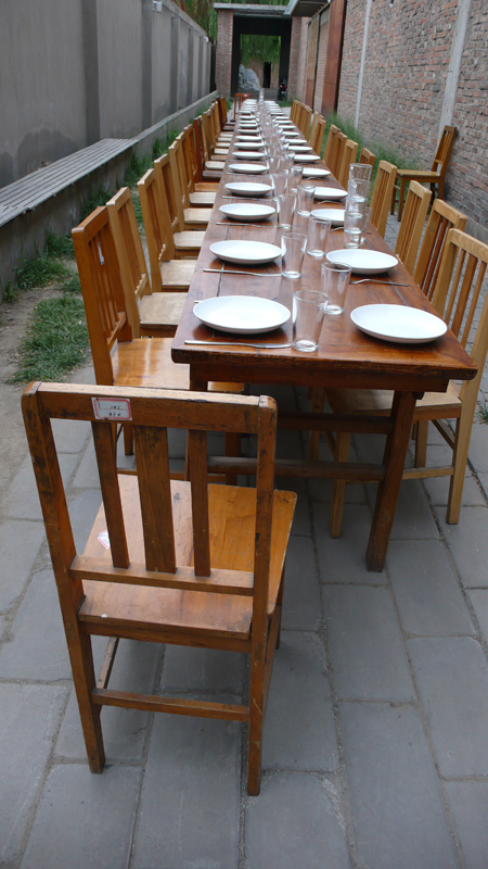 Row of dining tables