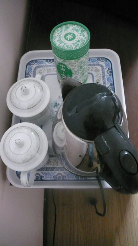 tea set in hotel room