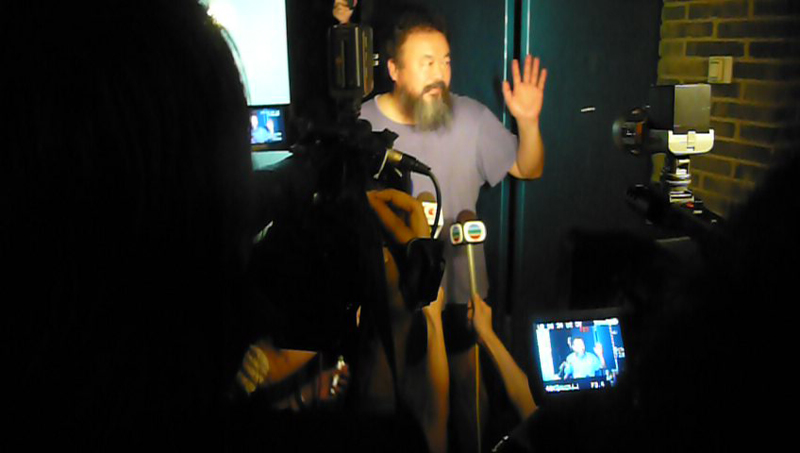 Ai Weiwei giving a brief statement