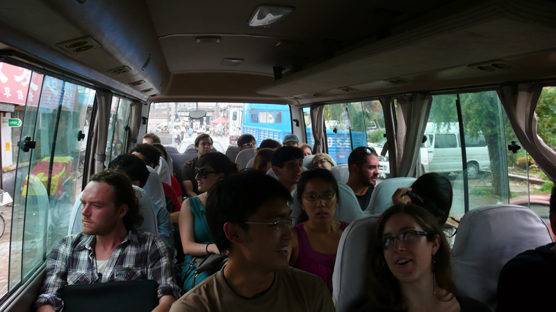 on the bus to the artist village