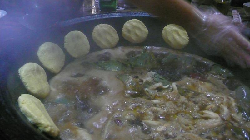corn bread at rim of bowl